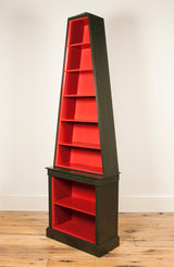 A painted pyramid bookcase. Modern. Made to order to any size and colour specification.