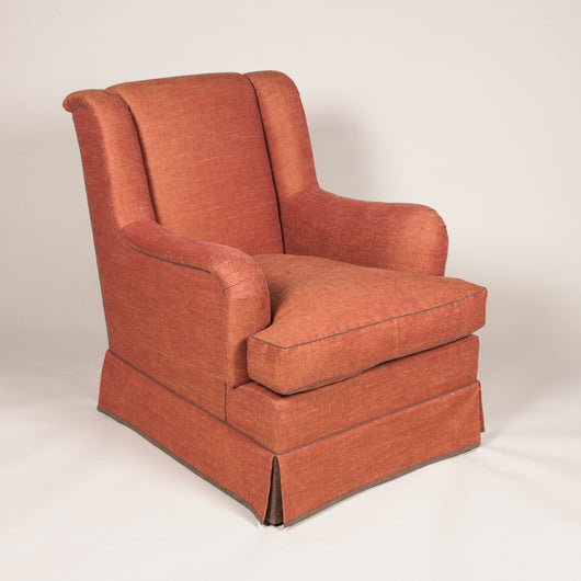 The St James armchair. Made to order £7,900.00 plus vat, plus fabric. Main fabric required -10m. Contrast fabric required -1m.