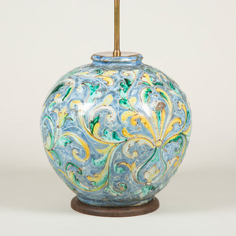 A late 17th or early 18th century Italian majolica vase of globular shape converted to a lamp.
