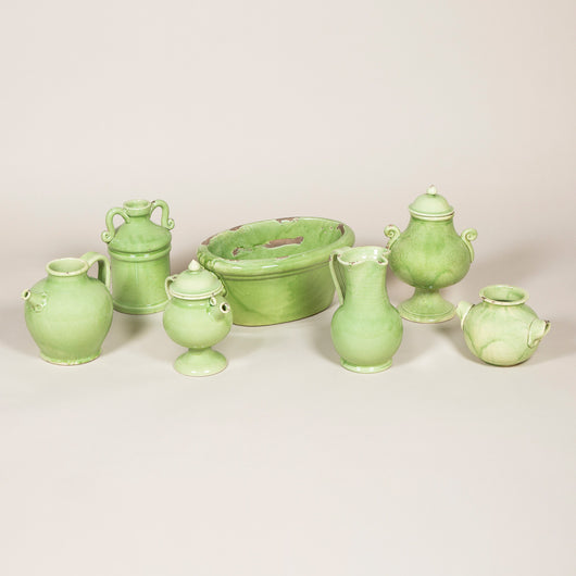 A collection of Southern-Italian pottery in a light green glaze, circa 1960's.