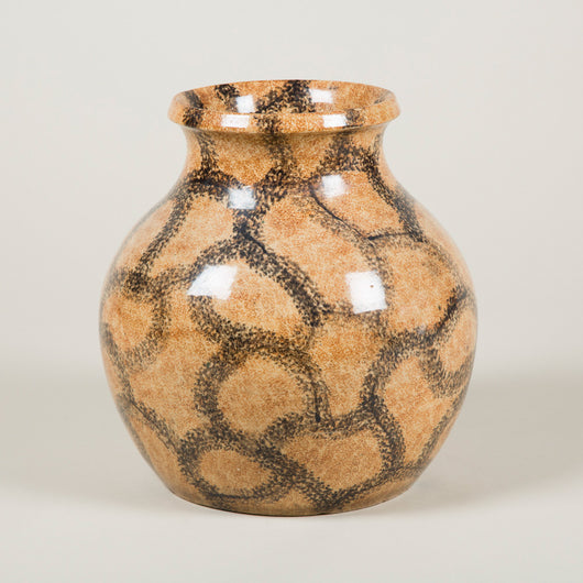 A Lipscombe Pottery pot-bellied vase with all-over painted crackle decoration, circa 1880.