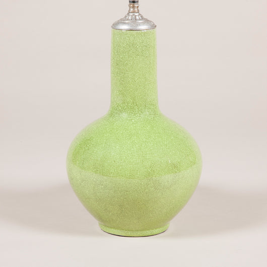 A baluster shaped lamp with an apple green crackle glaze in the Chinese taste. Modern, rewired. £1,200.00+vat (£1,440.00).