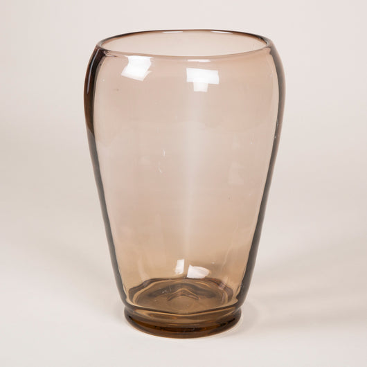 A large smokey brown glass vase by Whitefriar's.