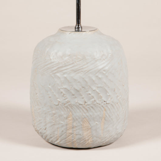 A hand made pottery vase with a matte grey glaze. Modern, wired as a lamp. £2,100.00 + vat.