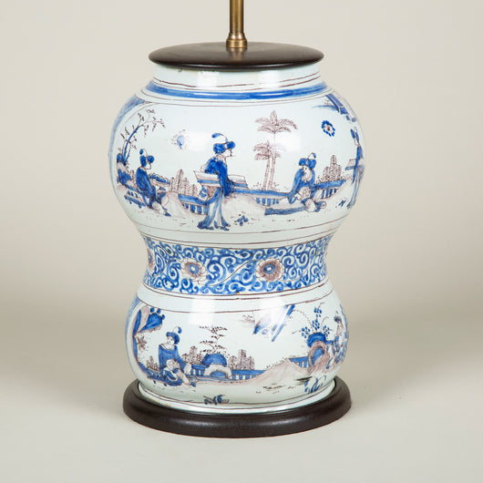 An unusual early faience double gourd vase with Chinoiserie decoration in manganese and blue. Late 17th or early 18th century, probably Frankfurt. Wired as a lamp.