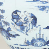 A large 18th century Frankfurt faience ovoid vase and cover, decorated with Chinoiserie scenes in blue on a white ground.
