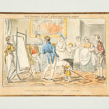 A set of eight copperplate engravings 'Midshipman Blockhead's Progress' by George Cruikshank circa 1835.