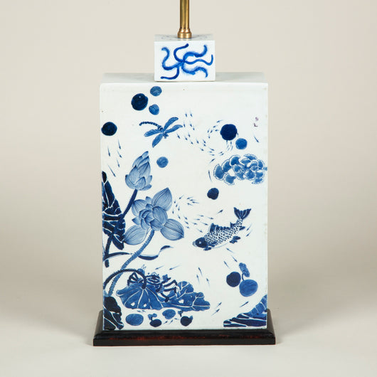 A blue and white Oriental rectangular vase and lid decorated with fishes, other pond life and water-lillies. 20th century. Wired as a lamp.