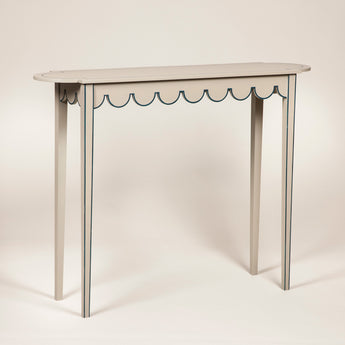 Tall D-end table with scalloped frieze. Made to order to any size and finish. Specification for this size and finish: