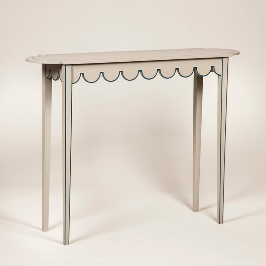 A large painted D-end table with scalloped freize. Made to order to any finish. This size and finish - £1,750.00 plus vat.