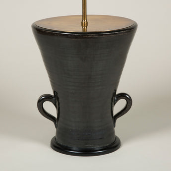 A black two handled French vase attributed to the Accolay pottery. Circa 1950's. Wired as a lamp.