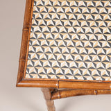 A late 19th century rectangular bamboo side table, the top and lower tier re-lined with geometrically patterned hand-printed paper, probably French, circa 1880.