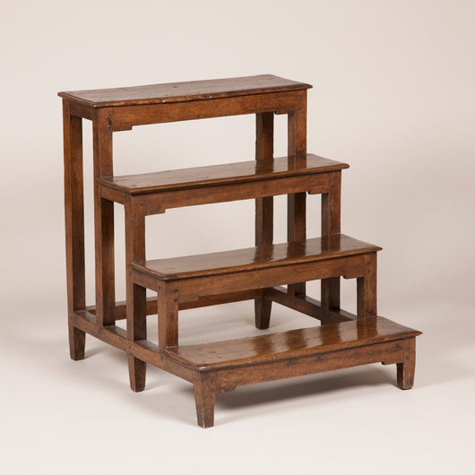 A set of 19th century Italian walnut bedsteps of simple square section construction.