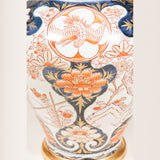 A 17th century Japanese Imari vase decorated with birds and flowers, restored and wired as a lamp.