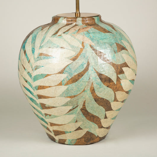 A large papier mache vase with polychrome leaf decoration, probably French circa 1950. Wired as a lamp.
