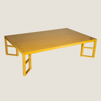The Lyall coffee table with diagonally set supports. Shown here in a camel-coloured lacquer. Price for this specification - £3,900.00 + vat.