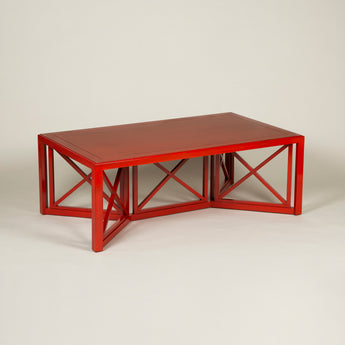 Rectangular Cockpen Coffee Table. Made to order in any bespoke size and finish. Polished wood, lacquered finish or painted options available. Specification below for this size in a red lacquered finish.