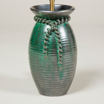 A green glazed Belgian studio pottery vase with applied cord decoration, wired as a lamp