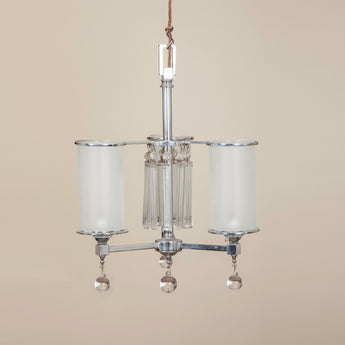 An Art Deco three branch chrome hanging light with frosted glass shades and glass pendants. 1930's.