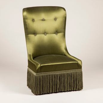 The Friar's chair. Made to order. £3,700 plus vat, plus fabric. Main fabric required 5.5m. Contrast required - 1m. Quantity of fringe required - 3m.