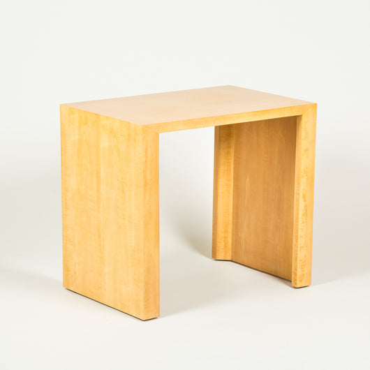 A pair of sycamore veneered rectangular end or side tables, second half of the 20th century.