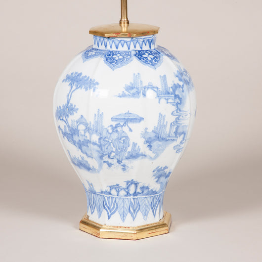 A very rare Frankfurt Delft tin glazed blue and white vase, wired as a lamp. Circa 1700.