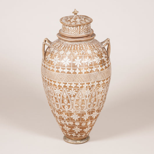 A large painted vellum vase and lid. North African, 20th century.