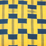 A length of blue and yellow Ewe Kente cloth made into cushions. Two square and two rectangular. £480 each