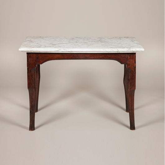 An 18th Century French Oak Console Table With Unusual Stepped Pied
