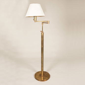 Billy Baldwin Standard Lamp. Made to order, in Brass, or Nickel. Other finishes can be quoted for. Price includes card shade. £1,350.00 plus vat for Brass, £1,550.00 plus vat for Nickel.