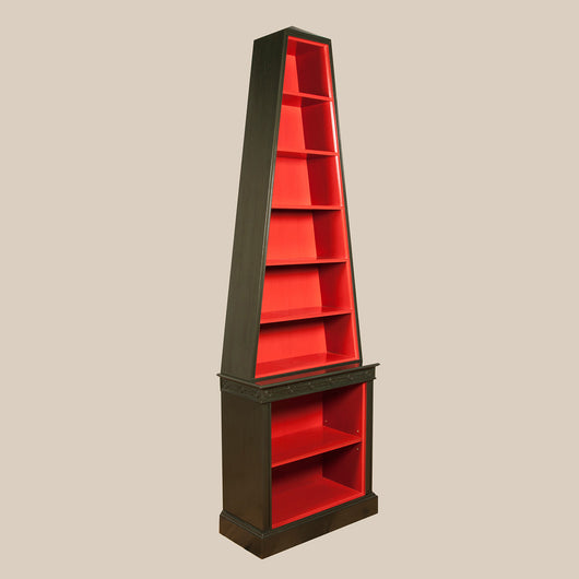 A pair of pyramid shape bookcases, with a bronze painted exterior and contrasting red interiors. Modern, £4,350 each plus vat.
