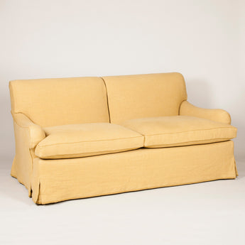 The Kingsway sofa. Made to order. For fixed cover version to these dimensions £12,500 plus vat, plus fabric. A loose cover version - as seen in the showroom - £14,200.00 + vat. Main fabric required - 15m. Contrast required - 2.5m.