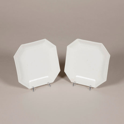 A pair of 19th century square creamware plates with canted corners. £225 each.