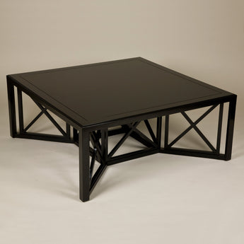 Square Cockpen Coffee Table. Made to order in any bespoke size and finish. Polished wood, lacquered finish or painted options available. Specification for this size in a black lacquered finish.