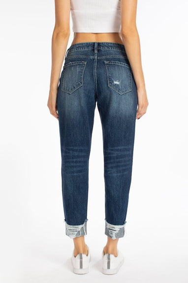 KAN CAN High Rise Distressed Boyfriend Jean (Paisley)