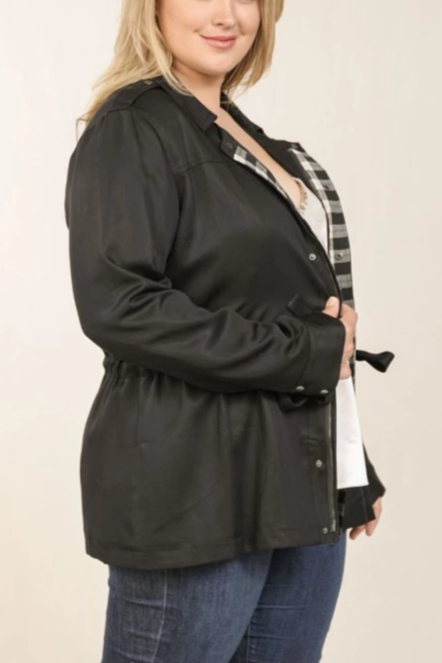 PLUS Belted Jacket w/ Plaid Lining (Black)