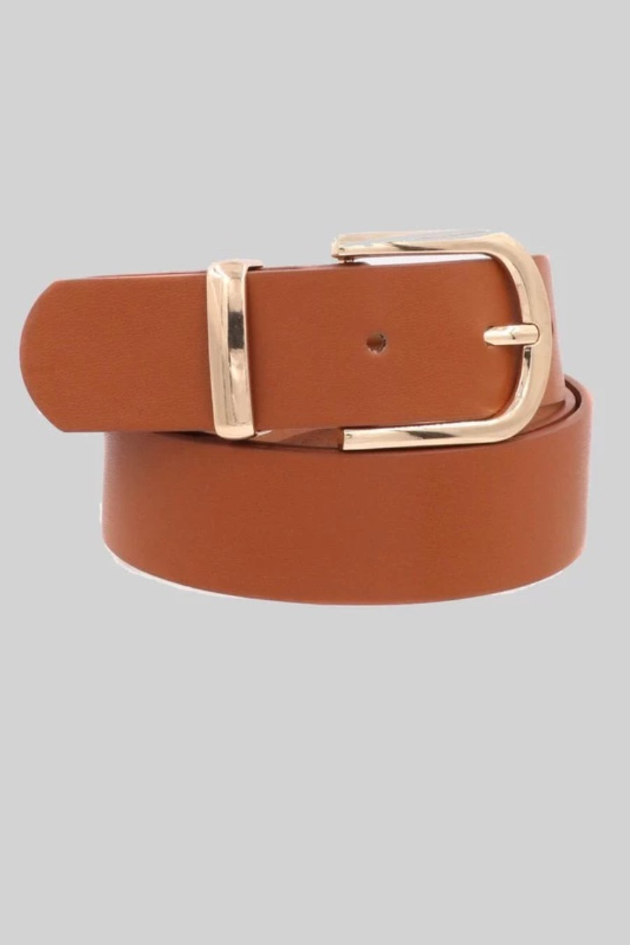 Faux Leather Metal Buckle Belt (Brown)
