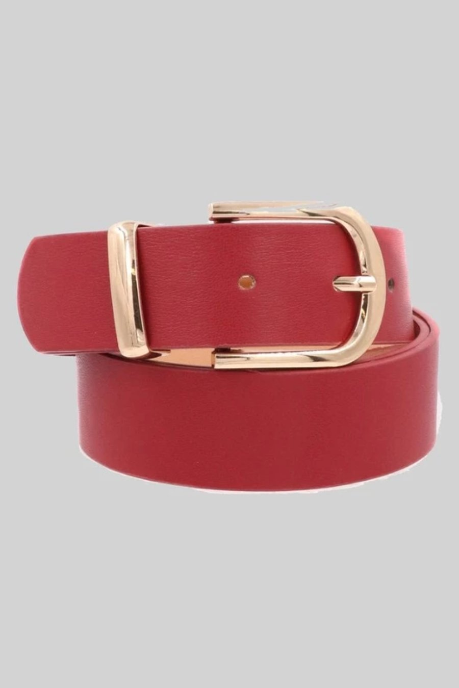 Faux Leather Metal Buckle Belt (Red)
