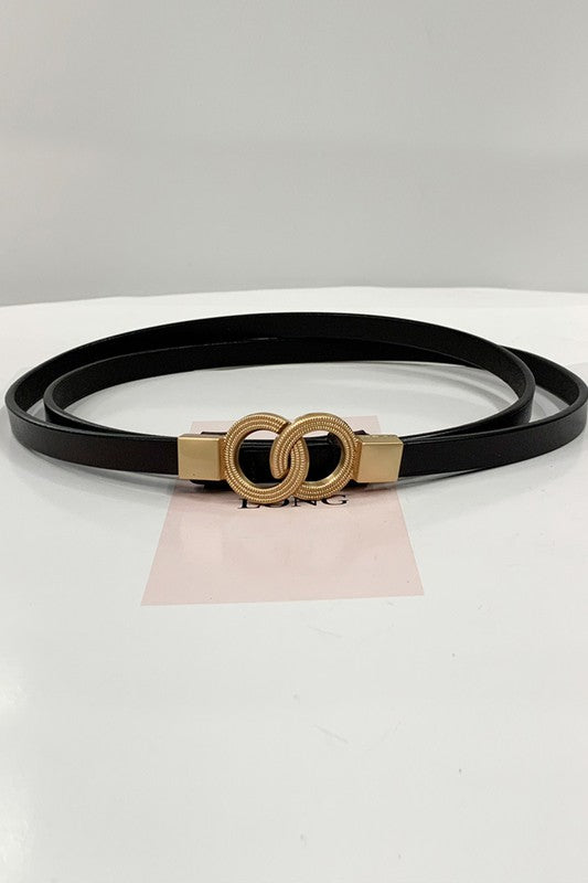 Double Ring Slim Belt (Black)