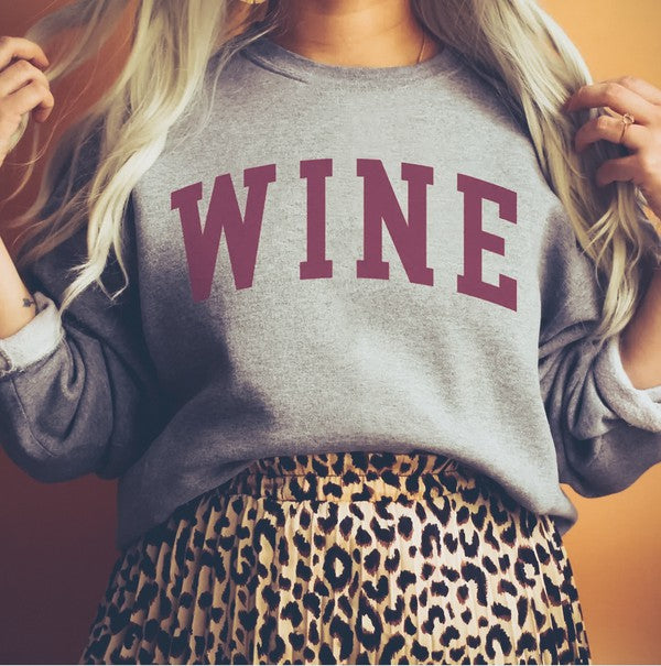 WINE Crewneck Sweatshirt (Grey)