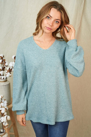 Bishop Sleeve Knit Top (Blue)