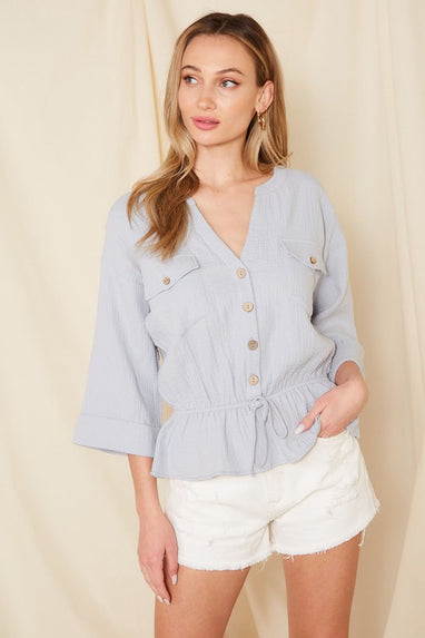 Button Detail Peplum Top (Dusty Blue)