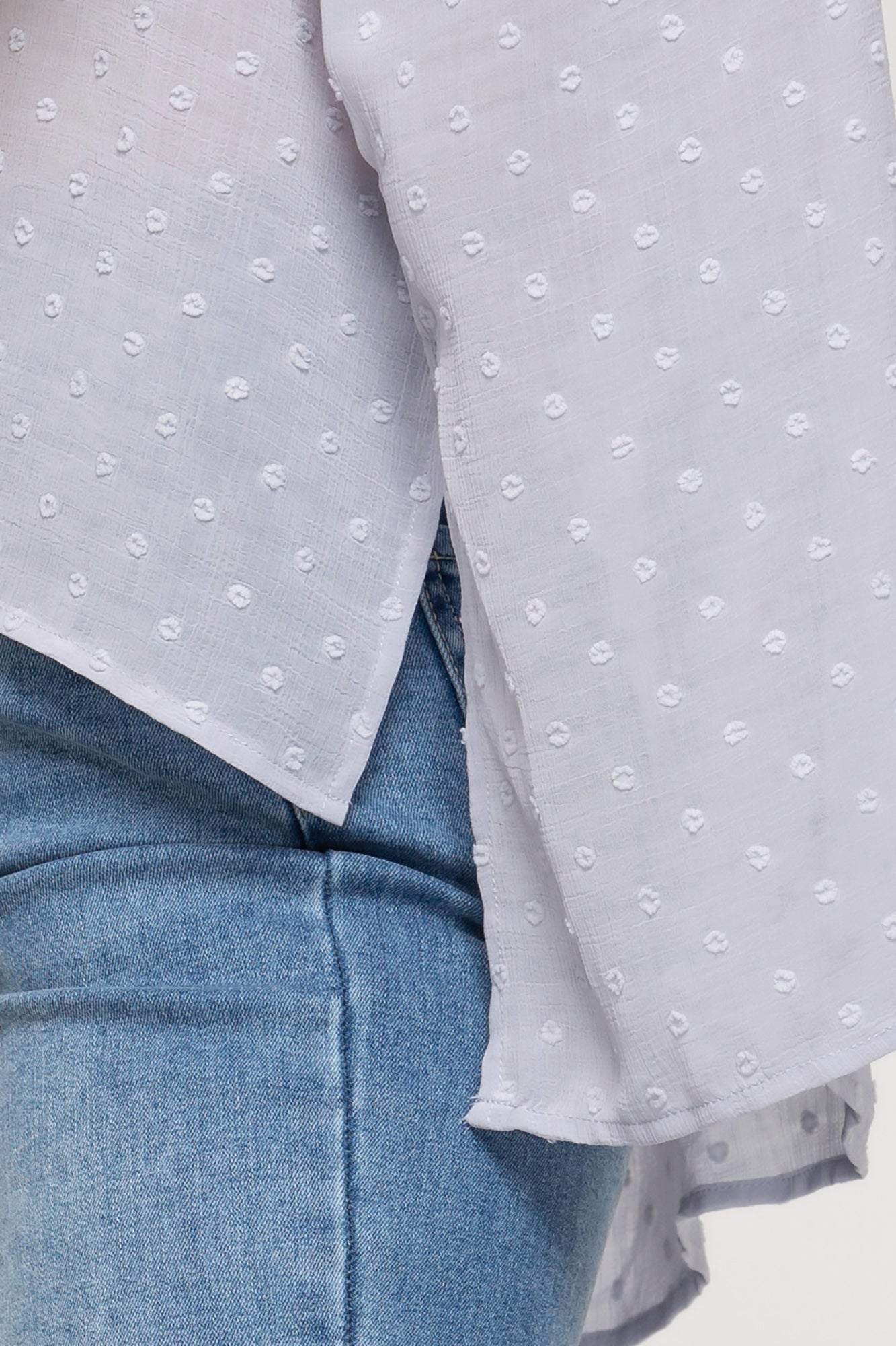 Smocked Sleeve Swiss Dot Top (XL-2X) (Blue Grey)