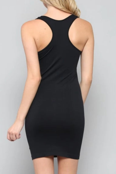 Racer Back Seamless Slip Dress (Black)