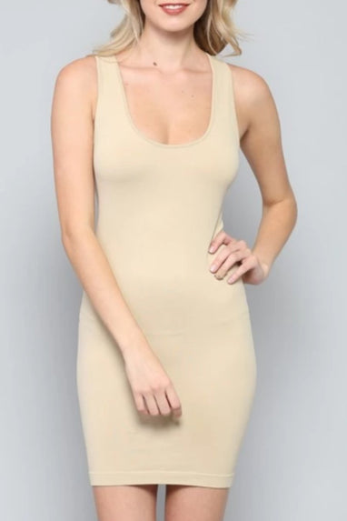 Racer Back Seamless Slip Dress (Nude)
