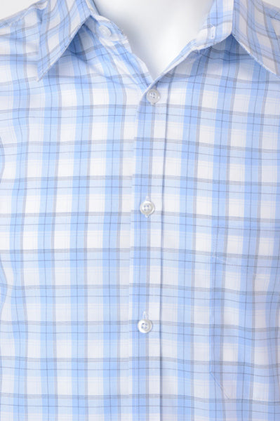 1 Daniel K Long Sleeve Shirt - Pale Blue Plaid