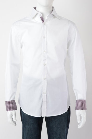 Daniel K Long Sleeve w/ Burgundy Cuff (White)