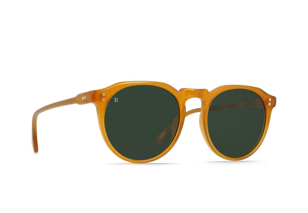 "RAEN ""Remmy"" Unisex Retro Round Sunglasses (Honey/Bottle Green)"