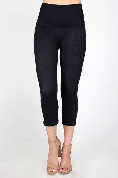 Denim Cropped Legging (Black)