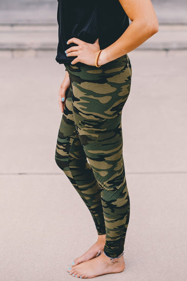 Camo Print Leggings (One Size) (Khaki)